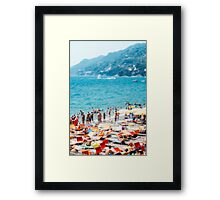 Busy Italian Beach Defocused Framed Print