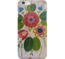 Antique Rosemaling Hot Pink Summer of Love Wild Rose Folk Art Scandinavian Kirsten  iPhone Case/Skin