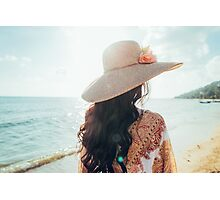 Elegant Woman With Straw Hat Walking Alone on Beach Photographic Print