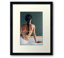 Beautiful Elegant Young Woman Sitting on Bed From Behind Framed Print
