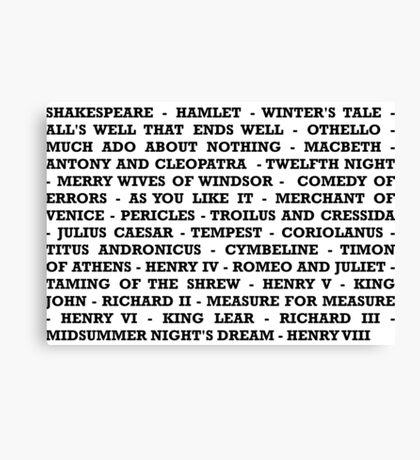 Shakespeare Plays  Canvas Print