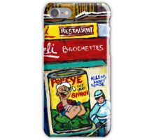 CARVELI'S PIZZA MONTREAL HOCKEY ART PAINTINGS WINTER IN THE CITY  iPhone Case/Skin
