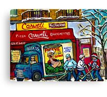 CARVELI'S PIZZA MONTREAL HOCKEY ART PAINTINGS WINTER IN THE CITY  Canvas Print