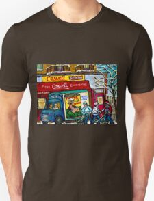 CARVELI'S PIZZA MONTREAL HOCKEY ART PAINTINGS WINTER IN THE CITY  T-Shirt