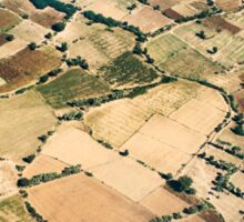 Aerial Shot of Plots of Farmland in South East Asia Sticker