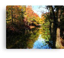 Autumn Park With Bridge Canvas Print