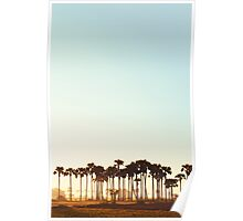 Palm Trees at Sunrise in Rural Burma Poster