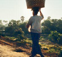 Woman Carrying Baskets on Head Walking in Burmese Countryside in Beautiful Morning Light Sticker