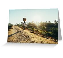 Woman Carrying Baskets on Head Walking in Burmese Countryside in Early Morning Greeting Card