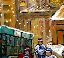 BUS SCENE MONTREAL WINTER SCENE CANADIAN ART RITZ CARLTON DOWNTOWN HOTEL  Sticker