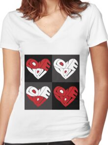 Love You Hearts Women's Fitted V-Neck T-Shirt