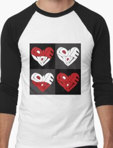 Love You Hearts Men's Baseball ¾ T-Shirt