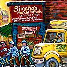 DELIVERY TRUCK NEAR SIMCHA'S FRUIT STORE CANADIAN ART MONTREAL STREET SCENE by Carole  Spandau