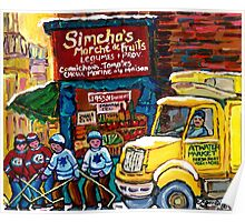 DELIVERY TRUCK NEAR SIMCHA'S FRUIT STORE CANADIAN ART MONTREAL STREET SCENE Poster