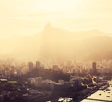 Rio de Janeiro Skyline With Christ the Redeemer in Yellow Afternoon Light by visualspectrum