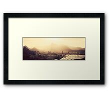 Rio de Janeiro Skyline With Christ the Redeemer in Yellow Afternoon Light Framed Print