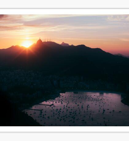 Rio de Janeiro Skyline With Christ the Redeemer at Sunset Sticker