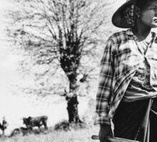 Portrait of Female Burmese Farmer Standing in Field Sticker