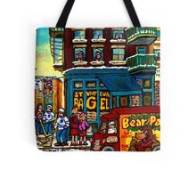 HAPPY WINTER DAY IN THE CITY RUE ST. VIATEUR MONTREAL CANADIAN ART  Tote Bag