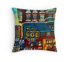 HAPPY WINTER DAY IN THE CITY RUE ST. VIATEUR MONTREAL CANADIAN ART  Throw Pillow