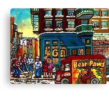 HAPPY WINTER DAY IN THE CITY RUE ST. VIATEUR MONTREAL CANADIAN ART  Canvas Print
