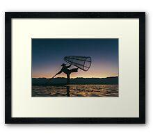 Silhouette of Traditional Fisherman on Lake Inle, Myanmar Framed Print