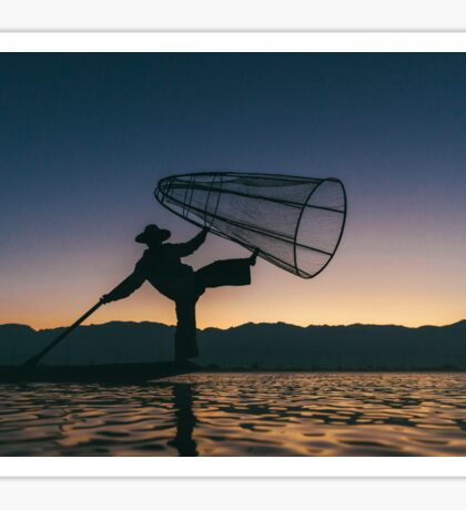 Silhouette of Traditional Fisherman on Lake Inle, Myanmar Sticker