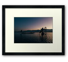 Two Fishermen at Work on Lake Inle in Early Morning, Myanmar Framed Print