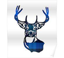 Blue Plaid Deer Buck Head Poster