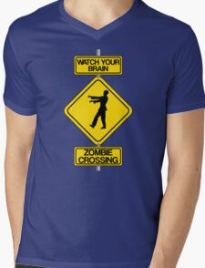 Watch Your Brain: Zombie Crossing Mens V-Neck T-Shirt