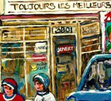 WINTER IN THE CITY TABAGIE WELLINGTON VERDUN DEPANNEUR CANADIAN ART BY CANADIAN ARTIST Sticker