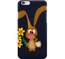 Funny Cool Bunny Rabbit is Holding Yellow Daffodil Flowers iPhone Case/Skin