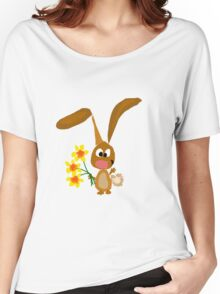 Funny Cool Bunny Rabbit is Holding Yellow Daffodil Flowers Women's Relaxed Fit T-Shirt