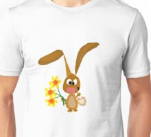 Funny Cool Bunny Rabbit is Holding Yellow Daffodil Flowers Unisex T-Shirt