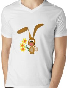 Funny Cool Bunny Rabbit is Holding Yellow Daffodil Flowers Mens V-Neck T-Shirt