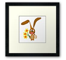 Funny Cool Bunny Rabbit is Holding Yellow Daffodil Flowers Framed Print