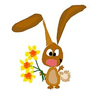 Funny Cool Bunny Rabbit is Holding Yellow Daffodil Flowers Photographic Print