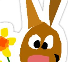 Funny Cool Bunny Rabbit is Holding Yellow Daffodil Flowers Sticker