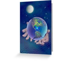 Hands holding the world Greeting Card