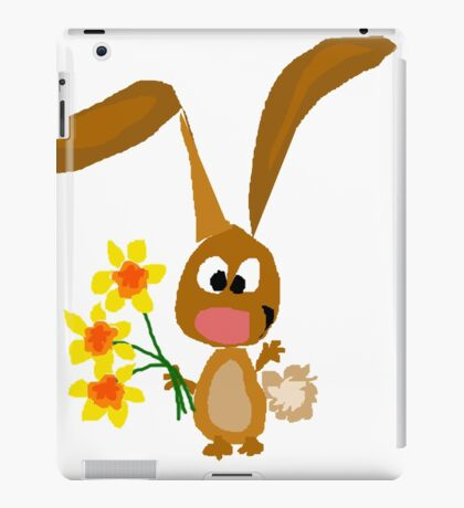 Funny Cool Bunny Rabbit is Holding Yellow Daffodil Flowers iPad Case/Skin