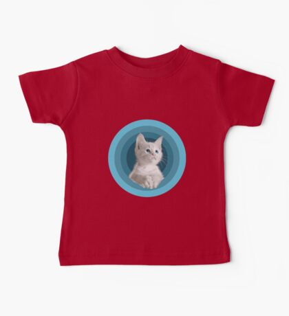 White Cute Blue Eyed Kitten In Turquoise Circles Baby Tee