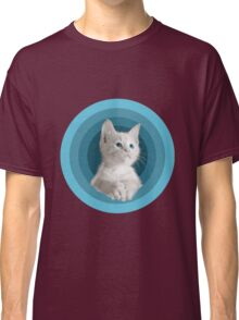 White Cute Blue Eyed Kitten In Turquoise Circles Classic T-Shirt