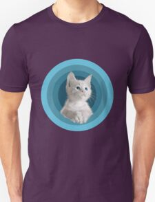 White Cute Blue Eyed Kitten In Turquoise Circles T-Shirt