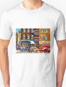 CANADIAN ART MONTREAL WINTER STREET SCENE ST.VIATEUR STREET HOCKEY ART T-Shirt