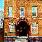 THE JEWISH STREET CLARK AND BAGG SYNAGOGUE MONTREAL CITY SCENE CANADIAN ART by Carole  Spandau