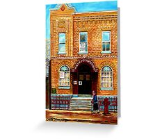 THE JEWISH STREET CLARK AND BAGG SYNAGOGUE MONTREAL CITY SCENE CANADIAN ART Greeting Card