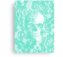 Mint lace skull Canvas Print