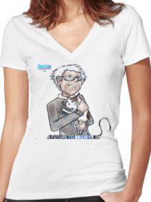 Bernie Sanders hugging a cat. Women's Fitted V-Neck T-Shirt