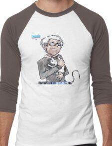 Bernie Sanders hugging a cat. Men's Baseball ¾ T-Shirt
