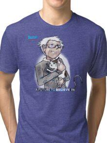 Bernie Sanders hugging a cat. Tri-blend T-Shirt